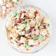 christmas chex mix in bowl