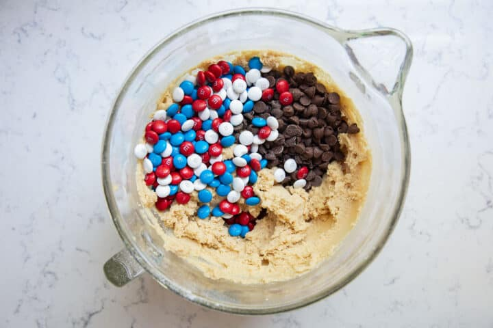 m&m cookie dough in bowl