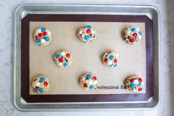 m&m cookie dough on pan