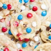 close up of m&m cookies