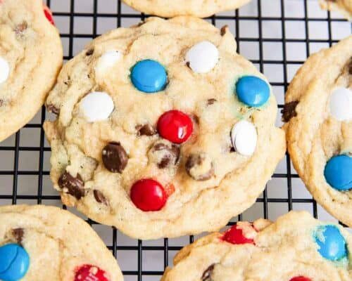 m&m cookies on cooling rack