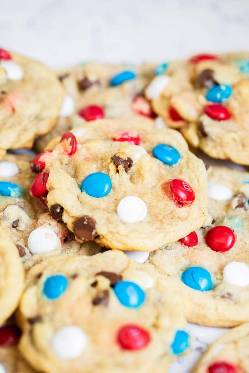 m&m cookies on table
