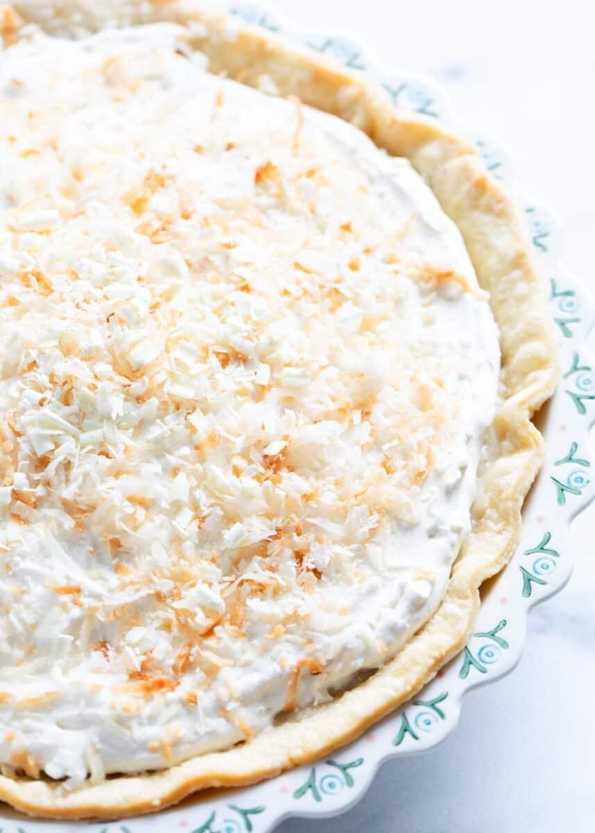 coconut cream pie on counter