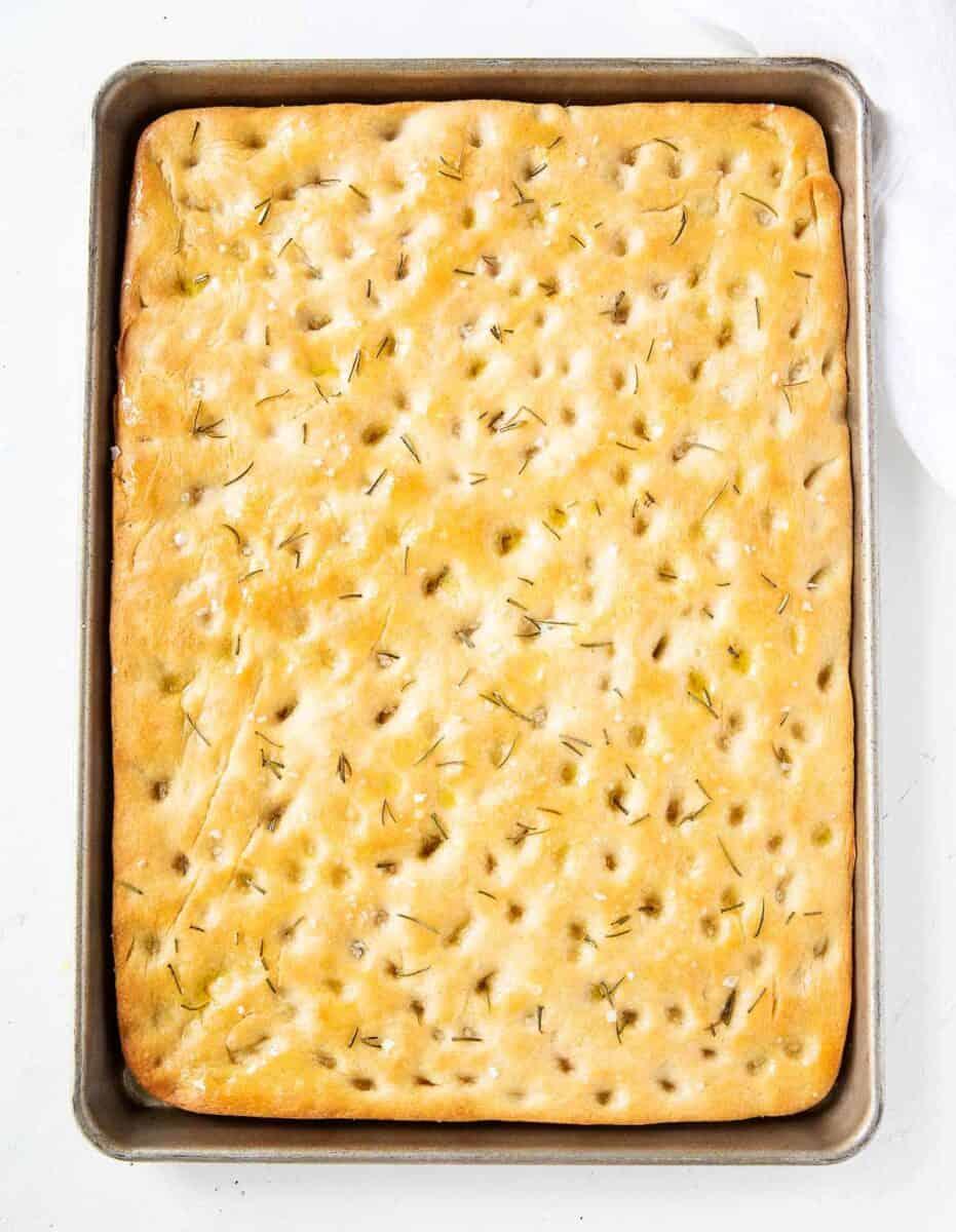 rosemary focaccia in pan