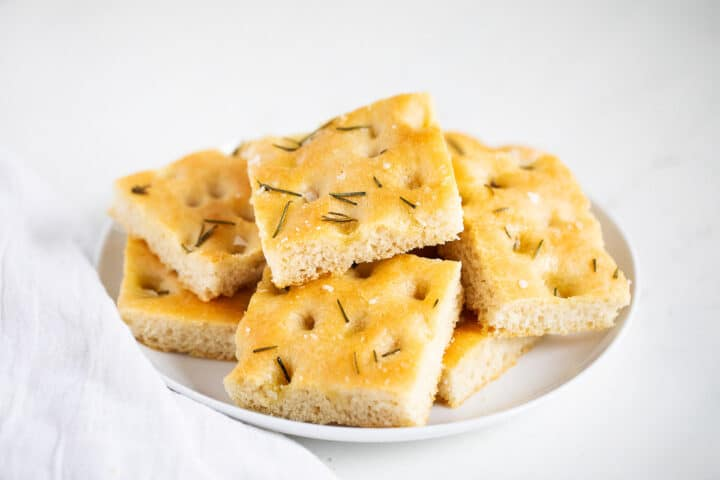 rosemary focaccia on plate