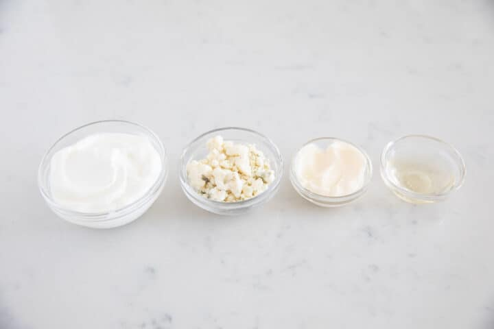 blue cheese dressing ingredients in bowls