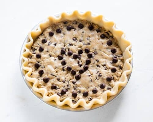 chocolate chip cookie pie ready to bake