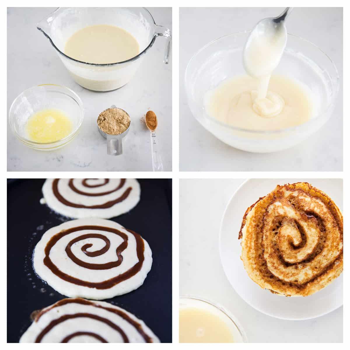 cinnamon roll pancakes ingredients collage