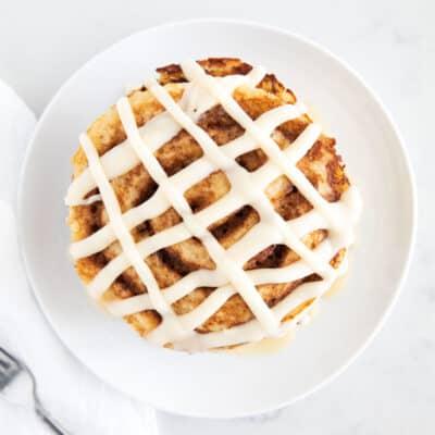 cinnamon roll pancakes on plate