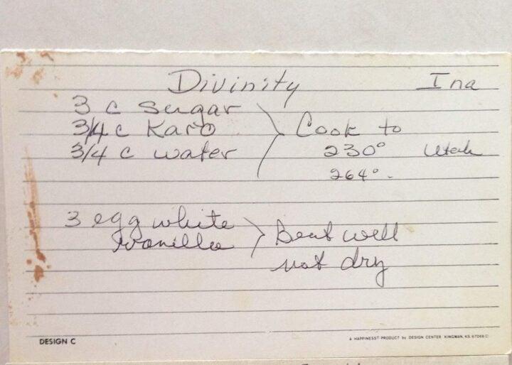 divinity recipe card