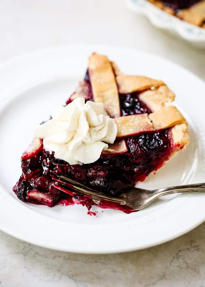 slice of razzleberry pie on plate
