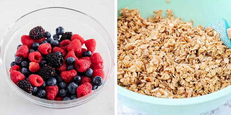 berries and granola in bowl