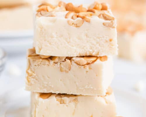 stacked white chocolate fudge