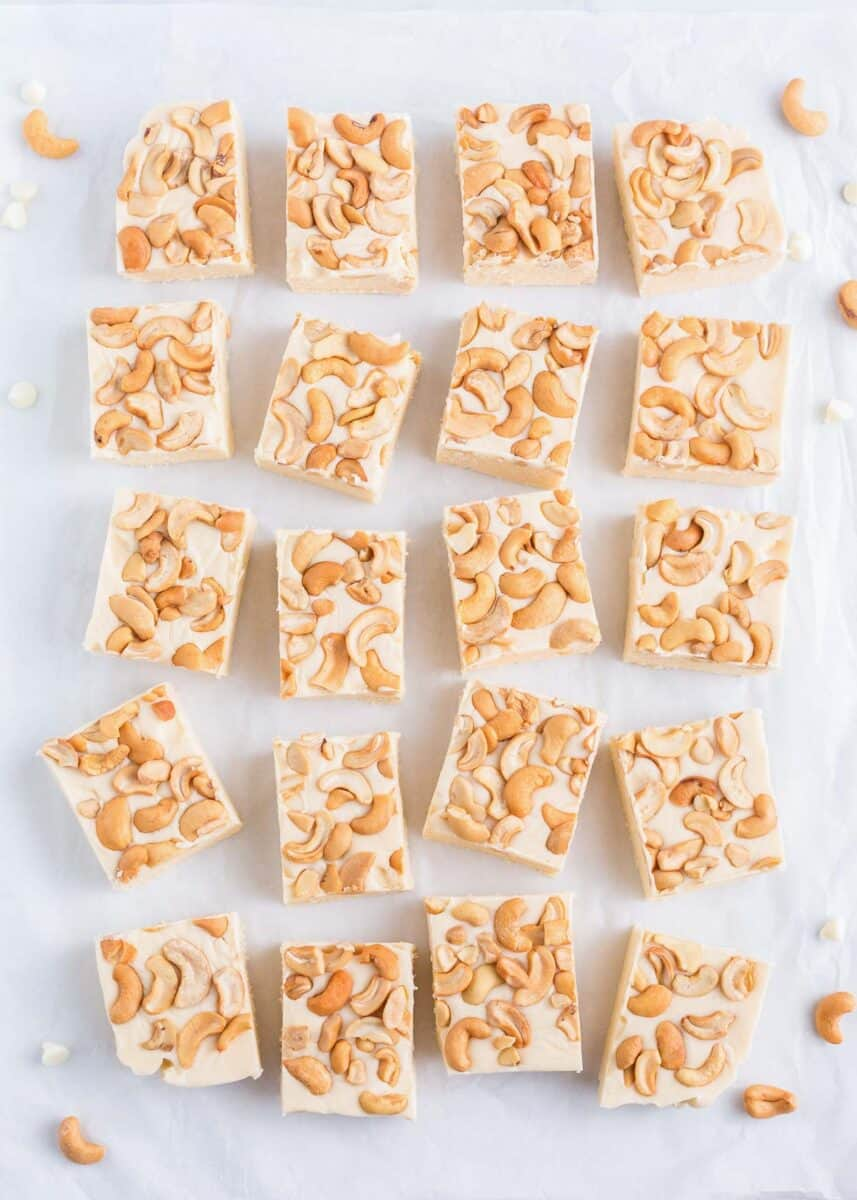 sliced white fudge with cashews