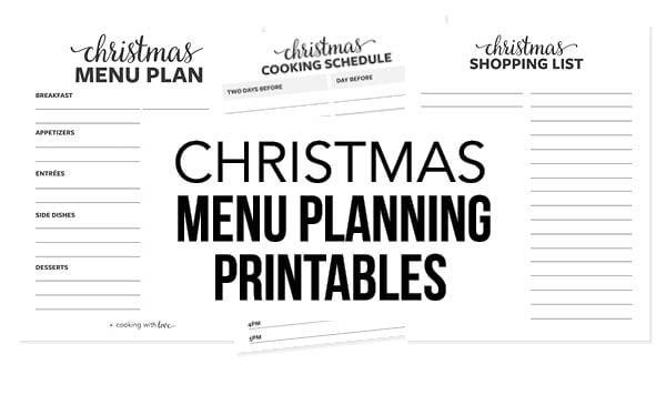 christmas menu planning printables