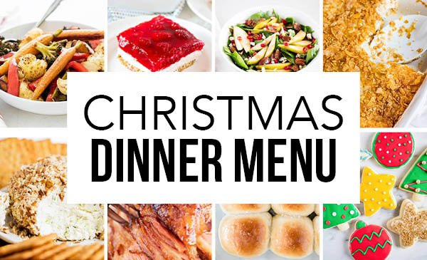 collage of christmas dinner recipes