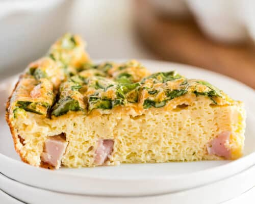 slice of quiche on white plate