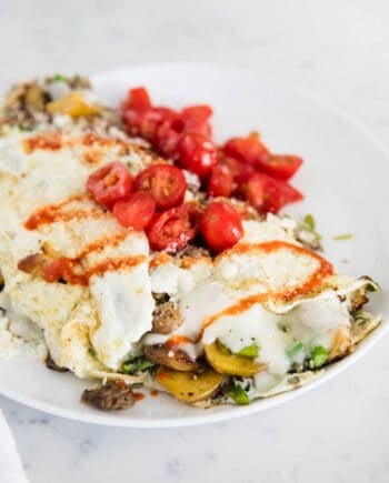 egg white omelette with tomatoes on top