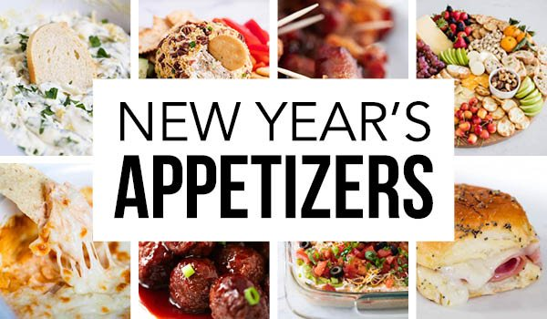 collage of new year's appetizers