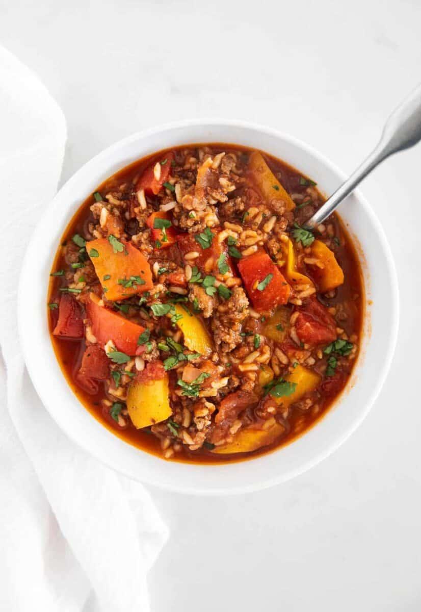 stuffed pepper soup in bowl
