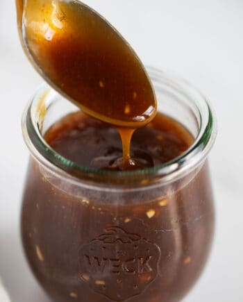 close up of teriyaki sauce in jar