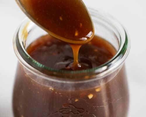close up of teriyaki sauce in jar