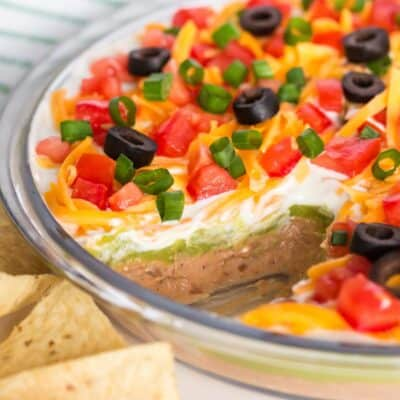 5 layer dip in dish with chips