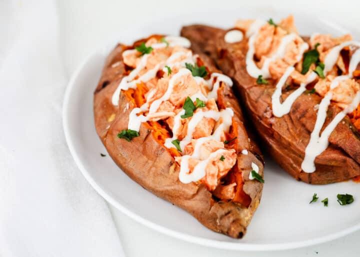 sweet potato with buffalo chicken inside