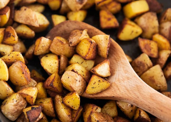 cast iron skillet potatoes in pan close up