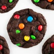 chocolate m&m cookies on table