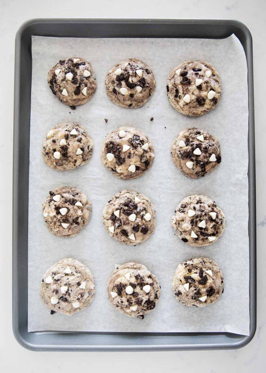cookies and cream cookies on pan