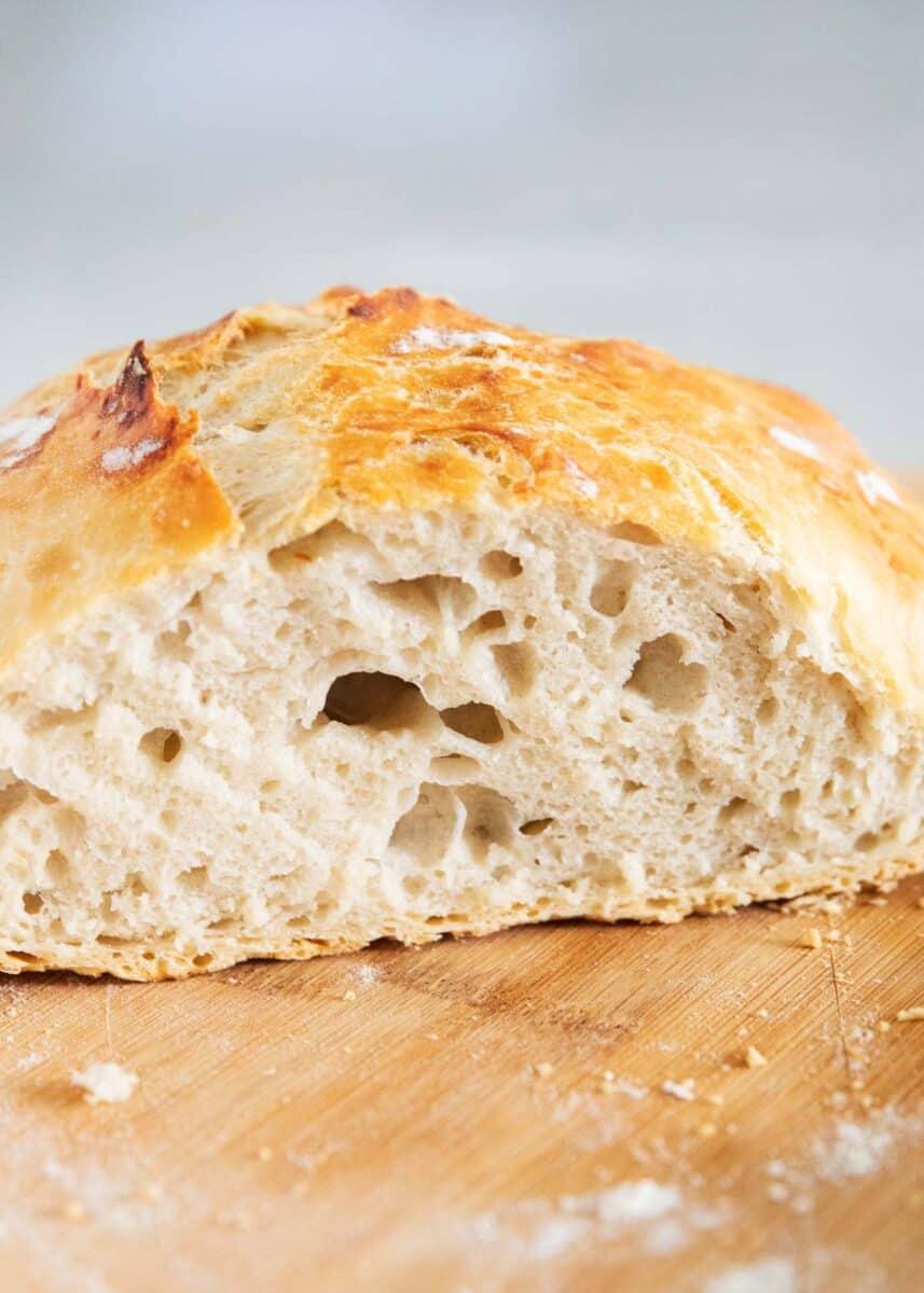dutch oven bread on cutting board