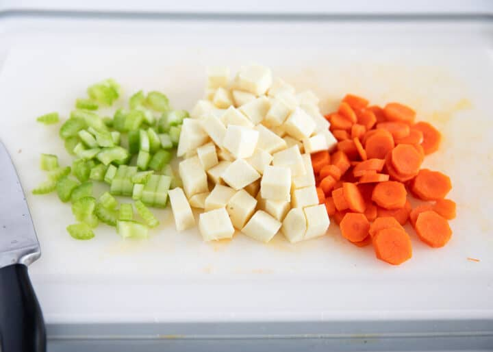 chopped veggies on cutting board