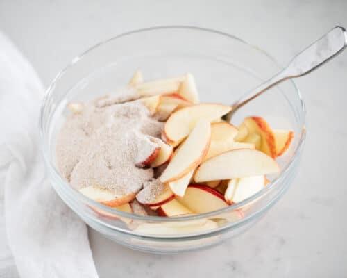 brown bag apple pie ingredients in bowl