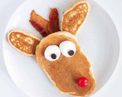 reindeer pancake on white plate