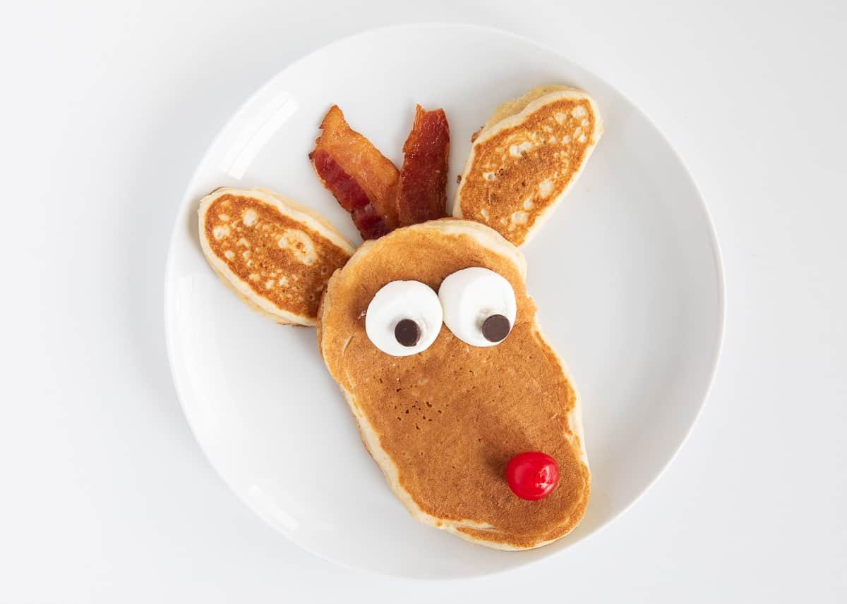 rudolph pancake on white plate