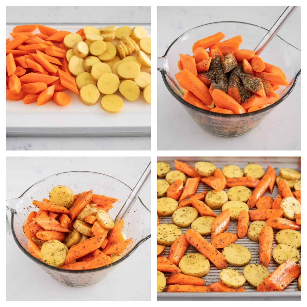 roasted potatoes and carrots collage