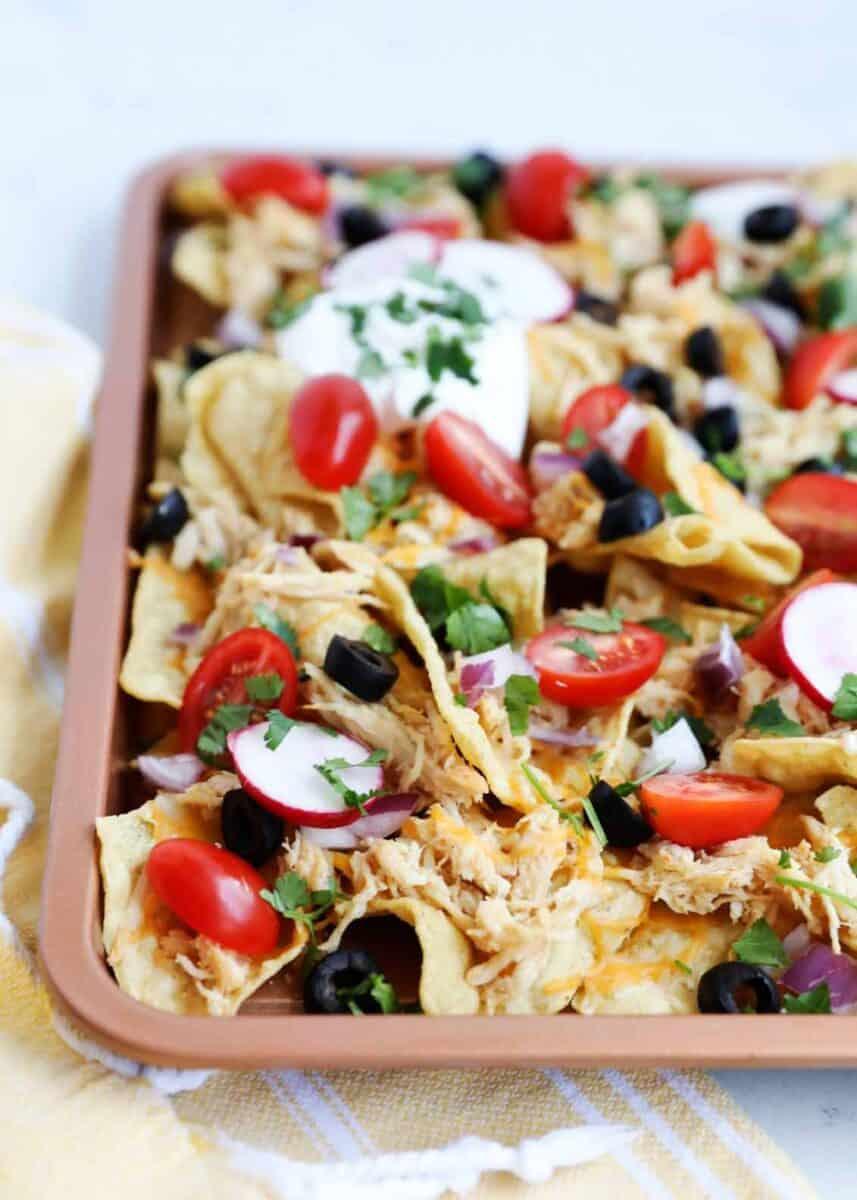close up of sheet pan nachos