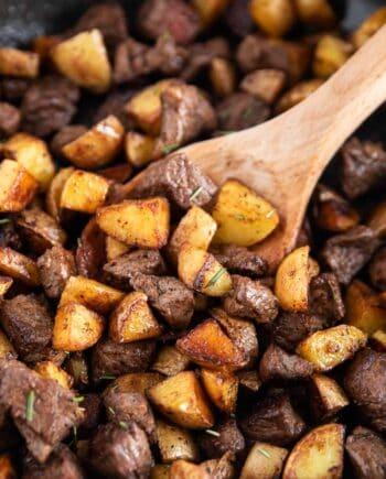 steak and potatoes close up