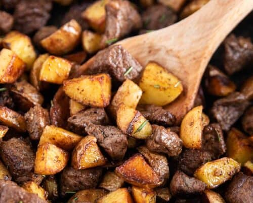 steak and potatoes close up