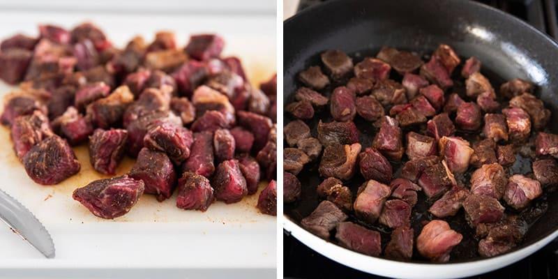 steak bites ingredients collage