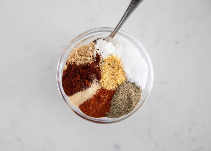steak rub ingredients in bowl
