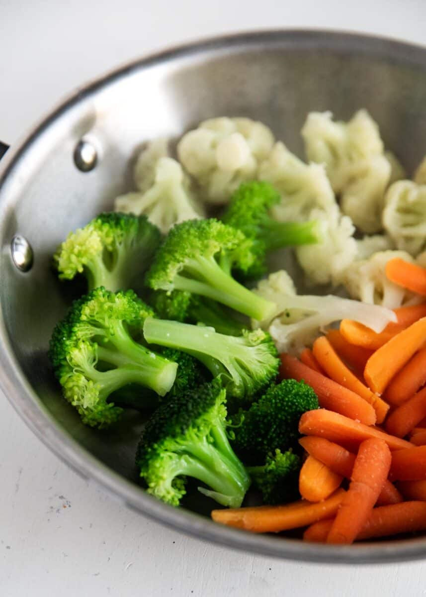 steamed vegetables cooked in pan