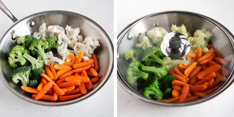 steamed vegetables cooking in skillet
