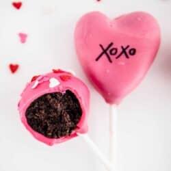 bite out of valentine cake pop