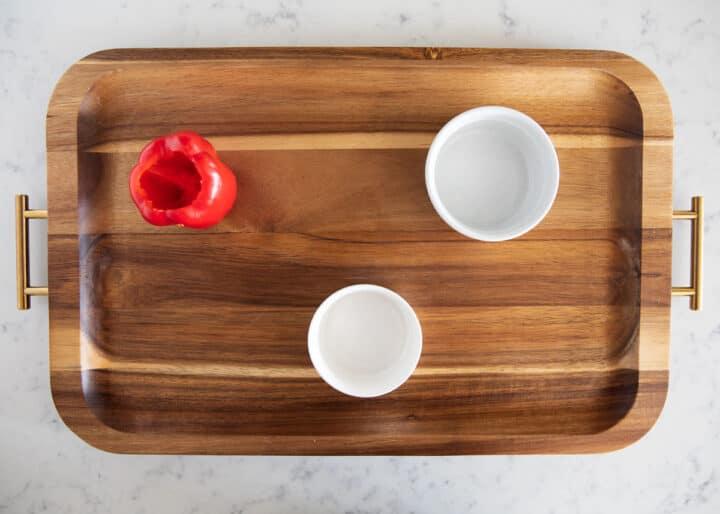 bowls on platter board
