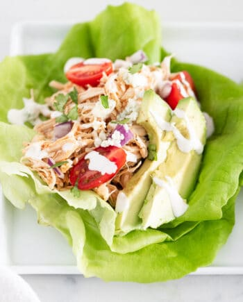 buffalo chicken lettuce wraps on plate