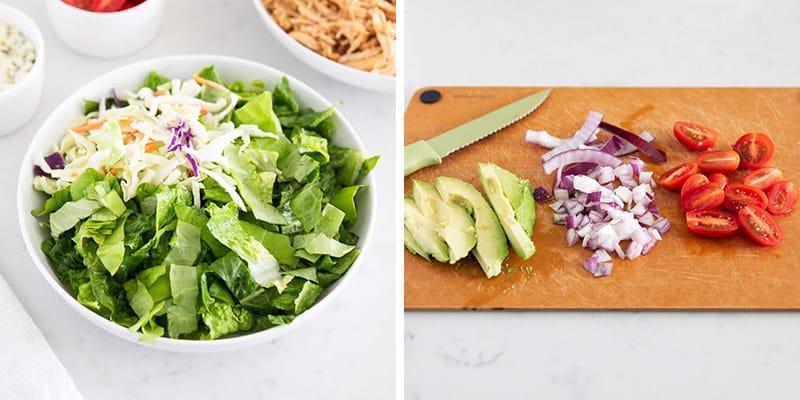 salad ingredients being prepped