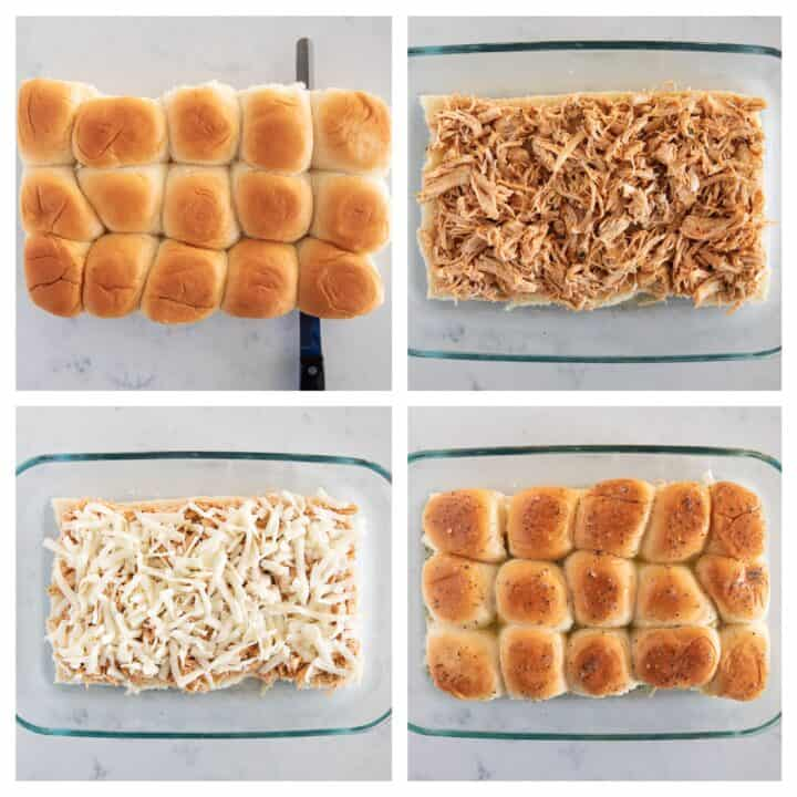 collage showing how to assemble buffalo chicken sliders