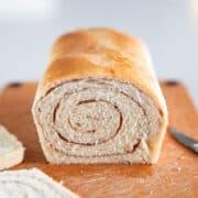 cinnamon swirl bread on cutting board